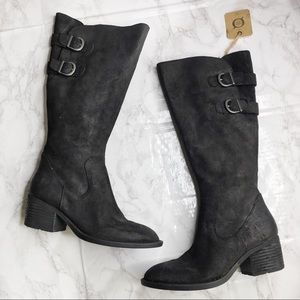 NWT Born Buckle Tall Leather Full Zip Boots